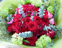 Bespoke Valentine's Day Bouquet of Red Naomi Roses and Anemones
